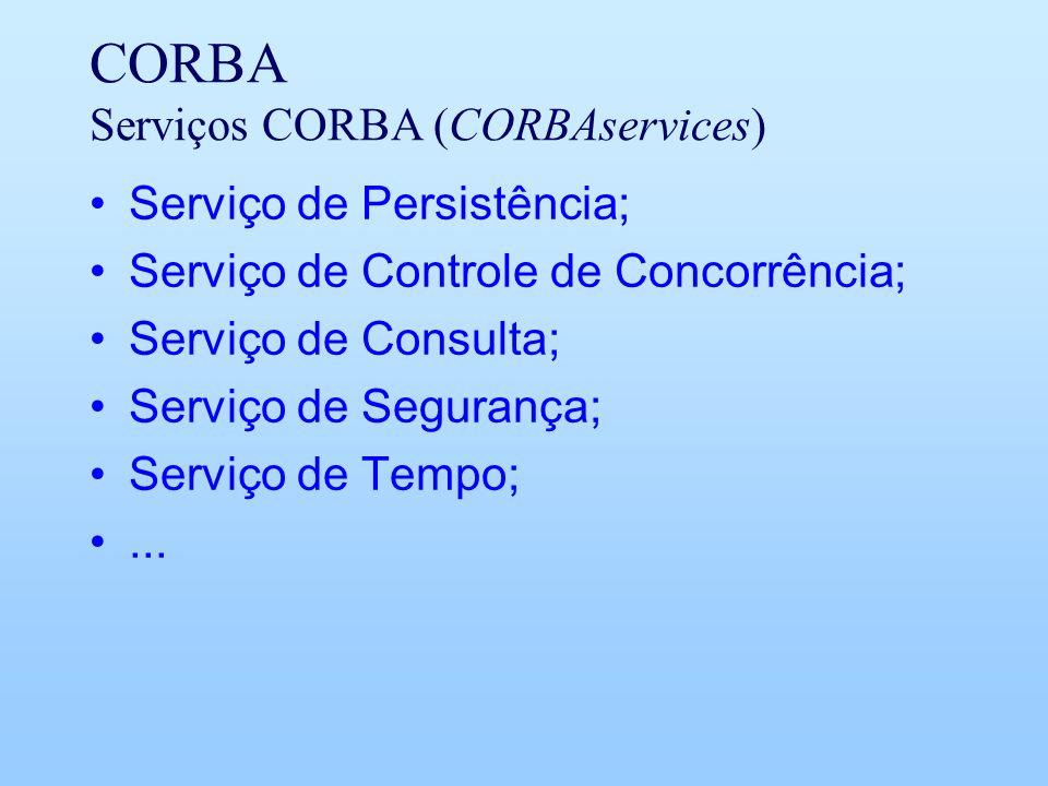CORBA Serviços CORBA (CORBAservices) Serviço de Persistência; Serviço de Controle de Concorrência; Serviço de Consulta; Serviço de Segurança; Serviço de Tempo;...