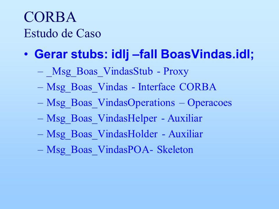 CORBA Estudo de Caso Gerar stubs: idlj –fall BoasVindas.idl; –_Msg_Boas_VindasStub - Proxy –Msg_Boas_Vindas - Interface CORBA –Msg_Boas_VindasOperations – Operacoes –Msg_Boas_VindasHelper - Auxiliar –Msg_Boas_VindasHolder - Auxiliar –Msg_Boas_VindasPOA- Skeleton