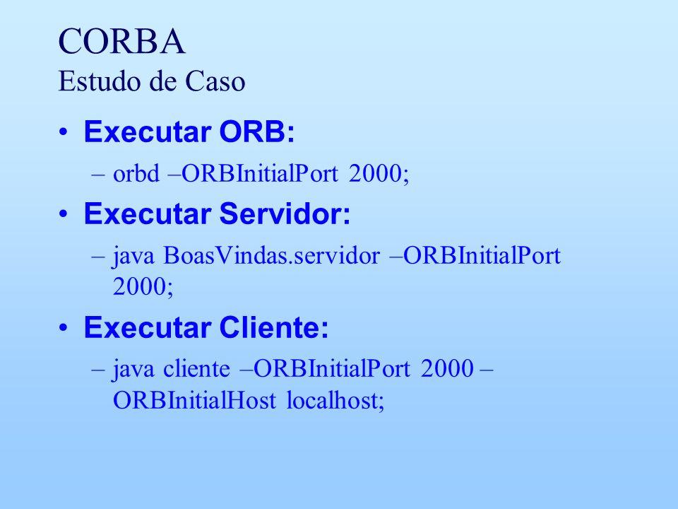 CORBA Estudo de Caso Executar ORB: –orbd –ORBInitialPort 2000; Executar Servidor: –java BoasVindas.servidor –ORBInitialPort 2000; Executar Cliente: –java cliente –ORBInitialPort 2000 – ORBInitialHost localhost;