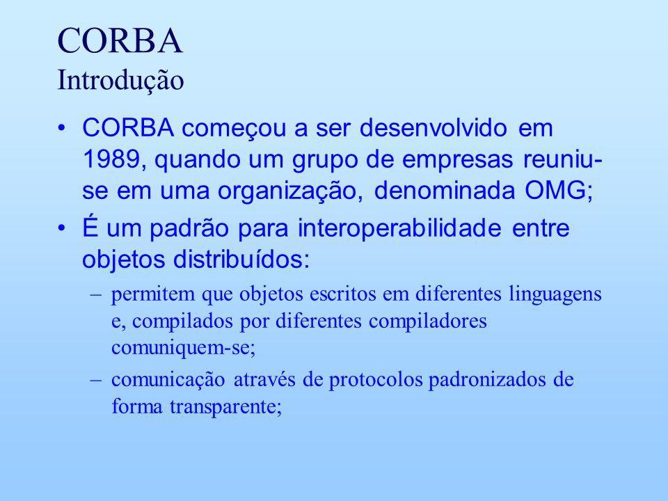 CORBA Introdução CORBA começou a ser desenvolvido em 1989, quando um grupo de empresas reuniu- se em uma organização, denominada OMG; É um padrão para interoperabilidade entre objetos distribuídos: –permitem que objetos escritos em diferentes linguagens e, compilados por diferentes compiladores comuniquem-se; –comunicação através de protocolos padronizados de forma transparente;