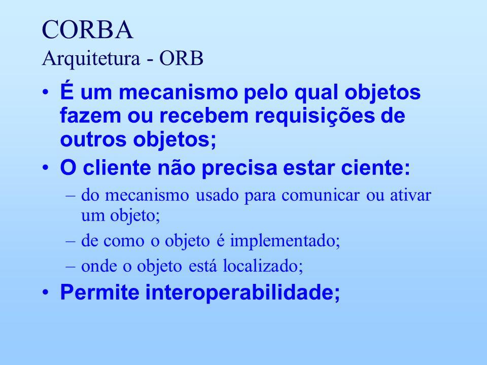 CORBA Arquitetura - ORB É um mecanismo pelo qual objetos fazem ou recebem requisições de outros objetos; O cliente não precisa estar ciente: –do mecanismo usado para comunicar ou ativar um objeto; –de como o objeto é implementado; –onde o objeto está localizado; Permite interoperabilidade;