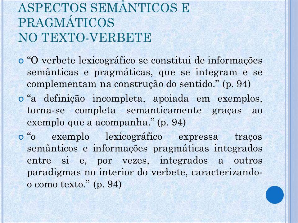 Exemplos fabricados: o dicionarista cria seus próprios enunciados Polêmica Focalizar exatamente o ponto linguístico que deseja ilustrar Calderón Campos (1994, p.