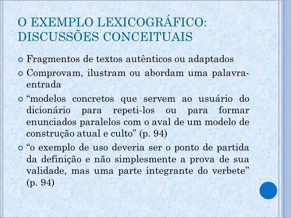 O EXEMPLO LEXICOGRÁFICO: DISCUSSÕES CONCEITUAIS O dicionário não se presta só à decodificação, mas também à codificação a ausência quase total de exemplos é uma das maiores insuficiências da lexicografia escolar brasileira (p.