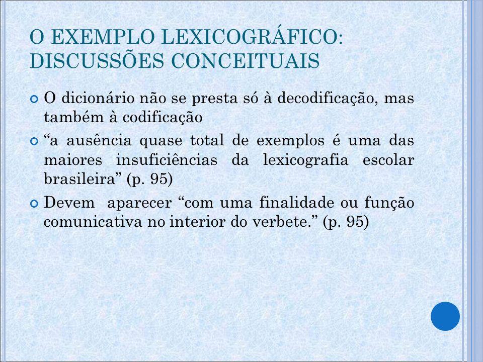 Pérez (2000, p.50) um dicionário sem exemplos é um dicionário mais pobre (p.
