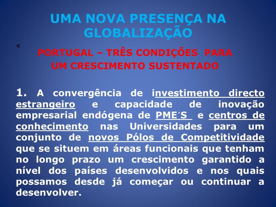 UMA NOVA PRESENÇA NA GLOBALIZAÇÃO PORTUGAL – TRÊS CONDIÇÕES PARA UM CRESCIMENTO SUSTENTADO E 1. A convergência de investimento directo estrangeiro e c