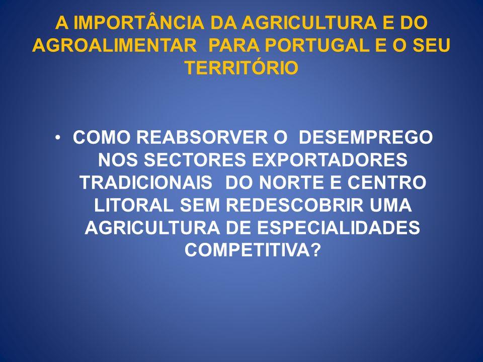 A IMPORTÂNCIA DA AGRICULTURA E DO AGROALIMENTAR PARA PORTUGAL E O SEU TERRITÓRIO COMO REABSORVER O DESEMPREGO NOS SECTORES EXPORTADORES TRADICIONAIS DO NORTE E CENTRO LITORAL SEM REDESCOBRIR UMA AGRICULTURA DE ESPECIALIDADES COMPETITIVA?