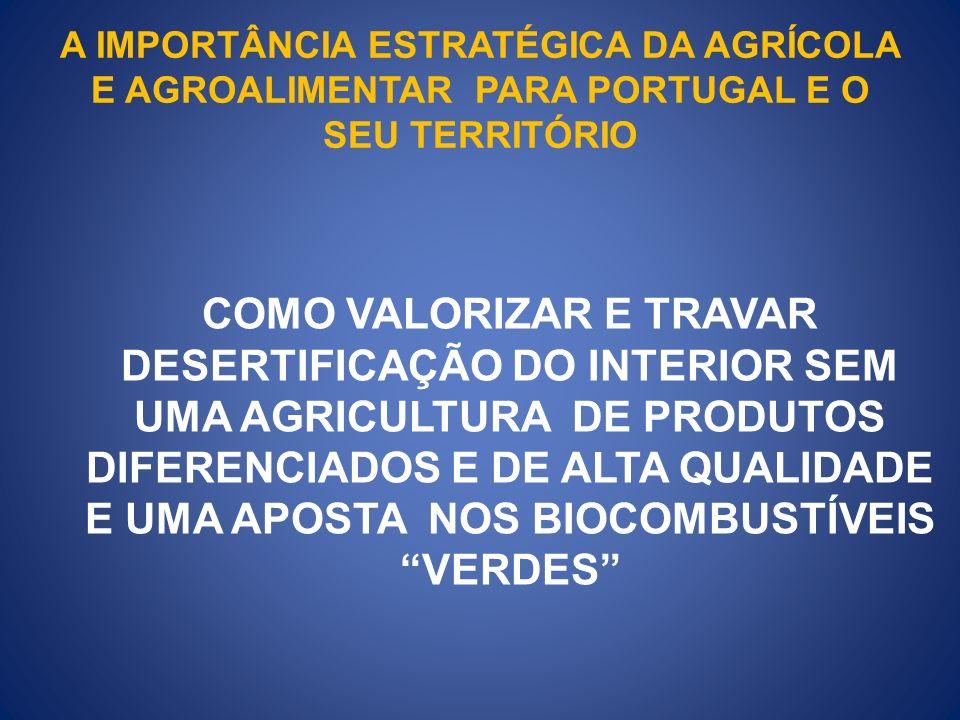 A IMPORTÂNCIA ESTRATÉGICA DA AGRÍCOLA E AGROALIMENTAR PARA PORTUGAL E O SEU TERRITÓRIO COMO VALORIZAR E TRAVAR DESERTIFICAÇÃO DO INTERIOR SEM UMA AGRI