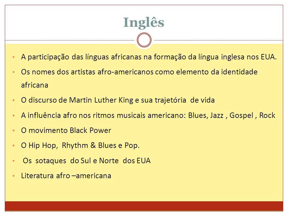 Inglês A participação das línguas africanas na formação da língua inglesa nos EUA. Os nomes dos artistas afro-americanos como elemento da identidade a
