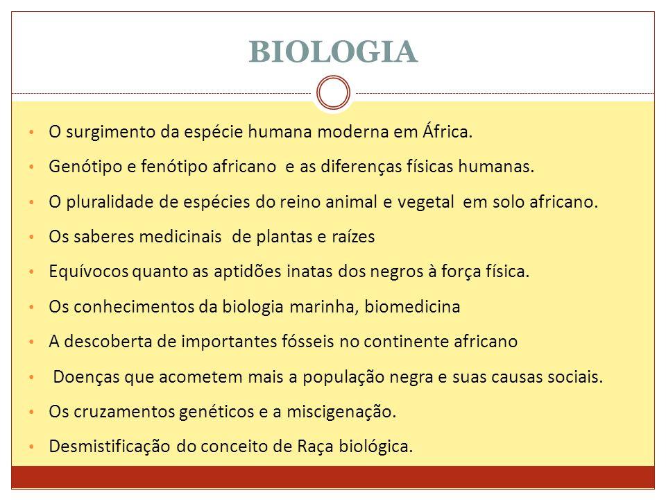 BIOLOGIA O surgimento da espécie humana moderna em África. Genótipo e fenótipo africano e as diferenças físicas humanas. O pluralidade de espécies do