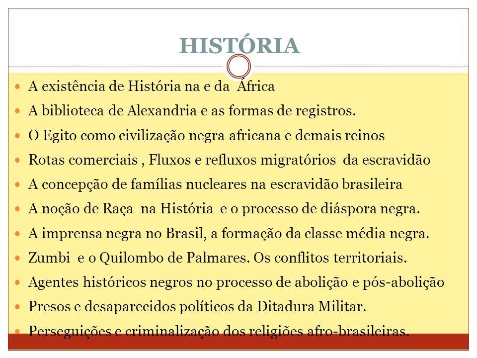 HISTÓRIA A existência de História na e da África A biblioteca de Alexandria e as formas de registros. O Egito como civilização negra africana e demais