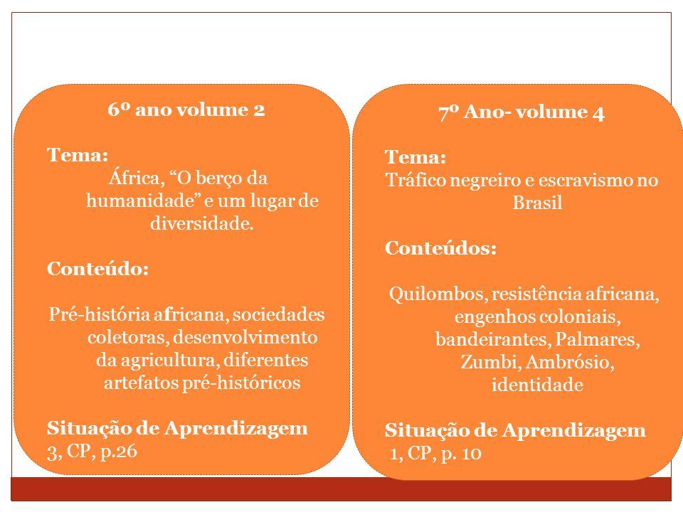 6º ano volume 2 Tema: África, O berço da humanidade e um lugar de diversidade. Conteúdo: Pré-história africana, sociedades coletoras, desenvolvimento