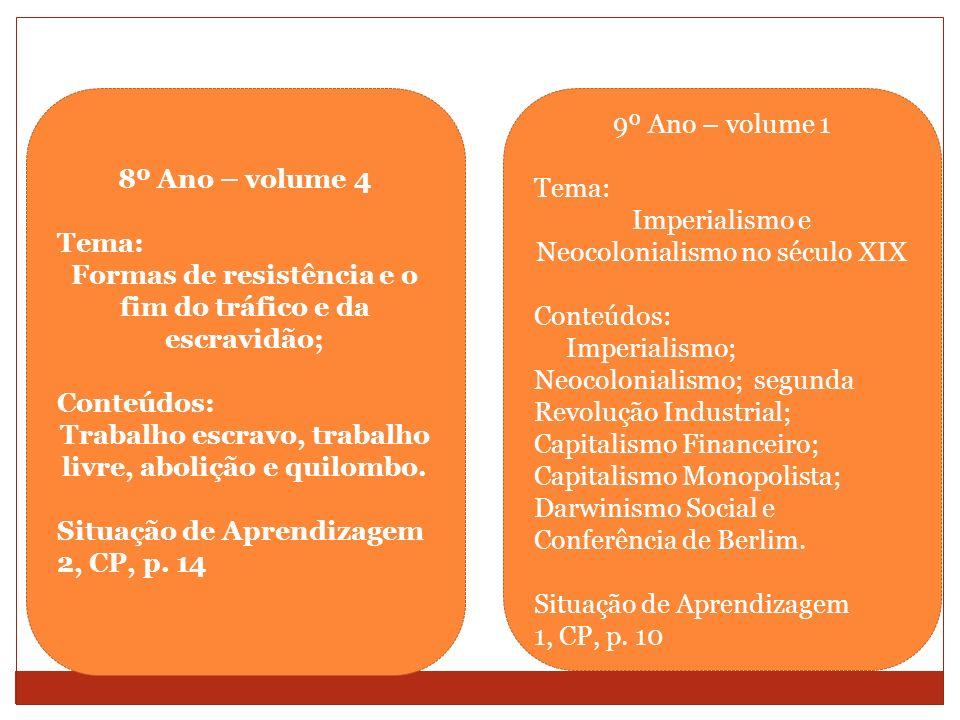 8º Ano – volume 4 Tema: Formas de resistência e o fim do tráfico e da escravidão; Conteúdos: Trabalho escravo, trabalho livre, abolição e quilombo. Si