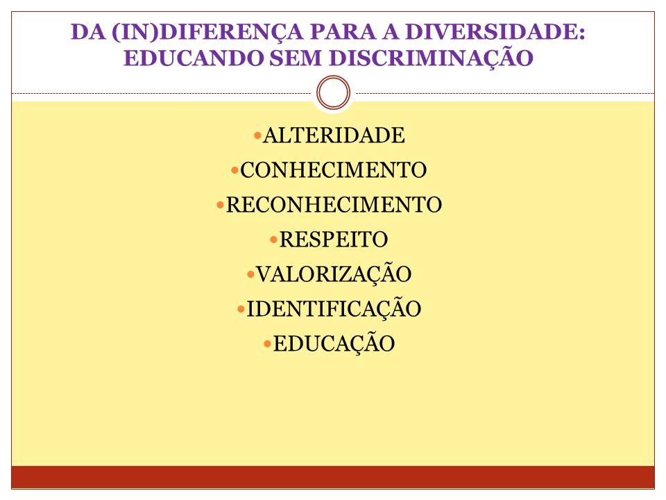 DA (IN)DIFERENÇA PARA A DIVERSIDADE: EDUCANDO SEM DISCRIMINAÇÃO ALTERIDADE CONHECIMENTO RECONHECIMENTO RESPEITO VALORIZAÇÃO IDENTIFICAÇÃO EDUCAÇÃO