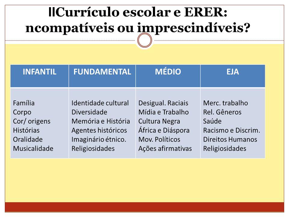 II Currículo escolar e ERER: ncompatíveis ou imprescindíveis?