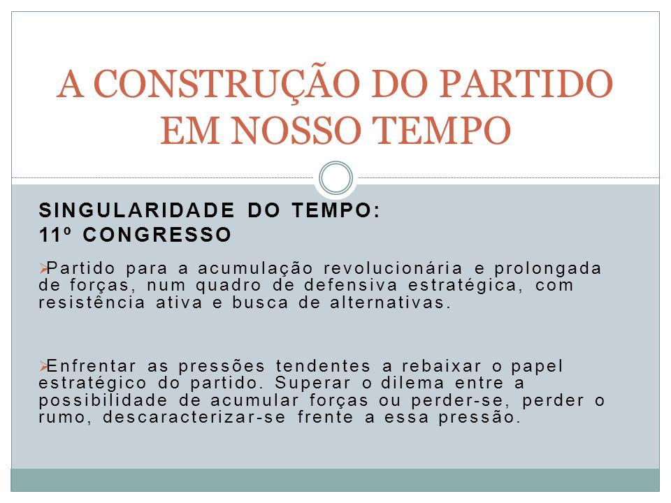SINGULARIDADE DO TEMPO: 11º CONGRESSO Partido para a acumulação revolucionária e prolongada de forças, num quadro de defensiva estratégica, com resistência ativa e busca de alternativas.