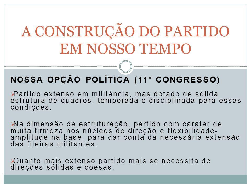 NOSSA OPÇÃO POLÍTICA (11º CONGRESSO) Partido extenso em militância, mas dotado de sólida estrutura de quadros, temperada e disciplinada para essas condições.