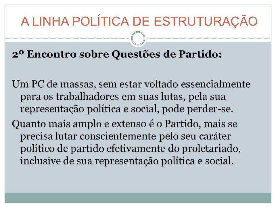 A LINHA POLÍTICA DE ESTRUTURAÇÃO 2º Encontro sobre Questões de Partido: Um PC de massas, sem estar voltado essencialmente para os trabalhadores em suas lutas, pela sua representação política e social, pode perder-se.