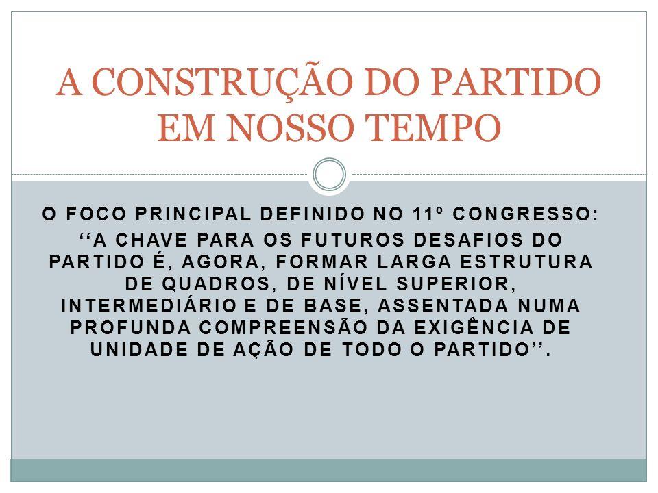 O FOCO PRINCIPAL DEFINIDO NO 11º CONGRESSO: A CHAVE PARA OS FUTUROS DESAFIOS DO PARTIDO É, AGORA, FORMAR LARGA ESTRUTURA DE QUADROS, DE NÍVEL SUPERIOR, INTERMEDIÁRIO E DE BASE, ASSENTADA NUMA PROFUNDA COMPREENSÃO DA EXIGÊNCIA DE UNIDADE DE AÇÃO DE TODO O PARTIDO.
