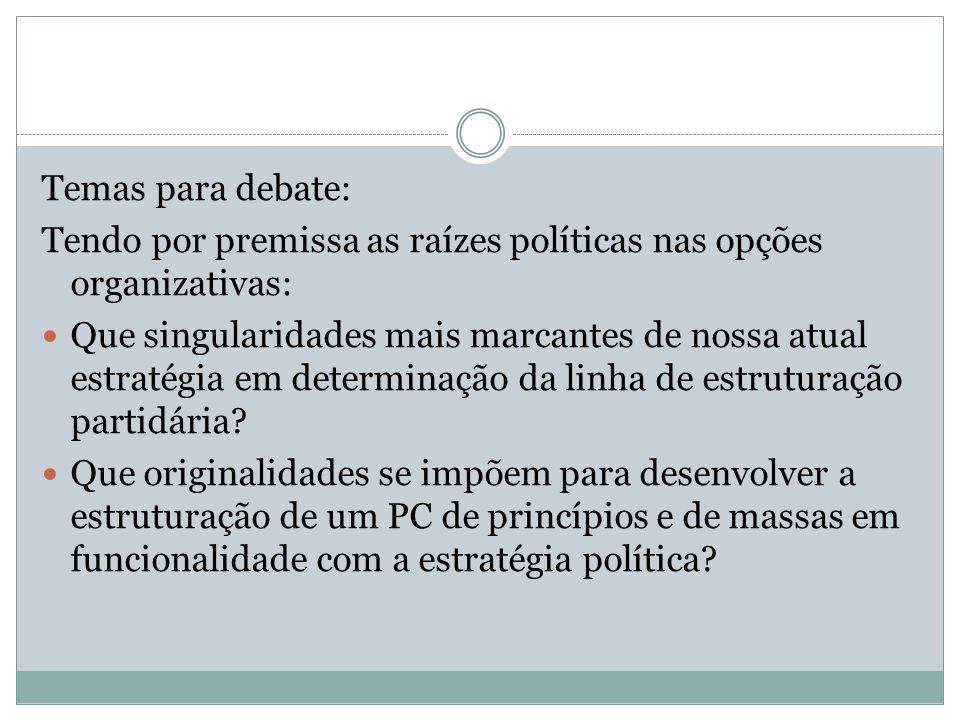 Temas para debate: Tendo por premissa as raízes políticas nas opções organizativas: Que singularidades mais marcantes de nossa atual estratégia em determinação da linha de estruturação partidária.