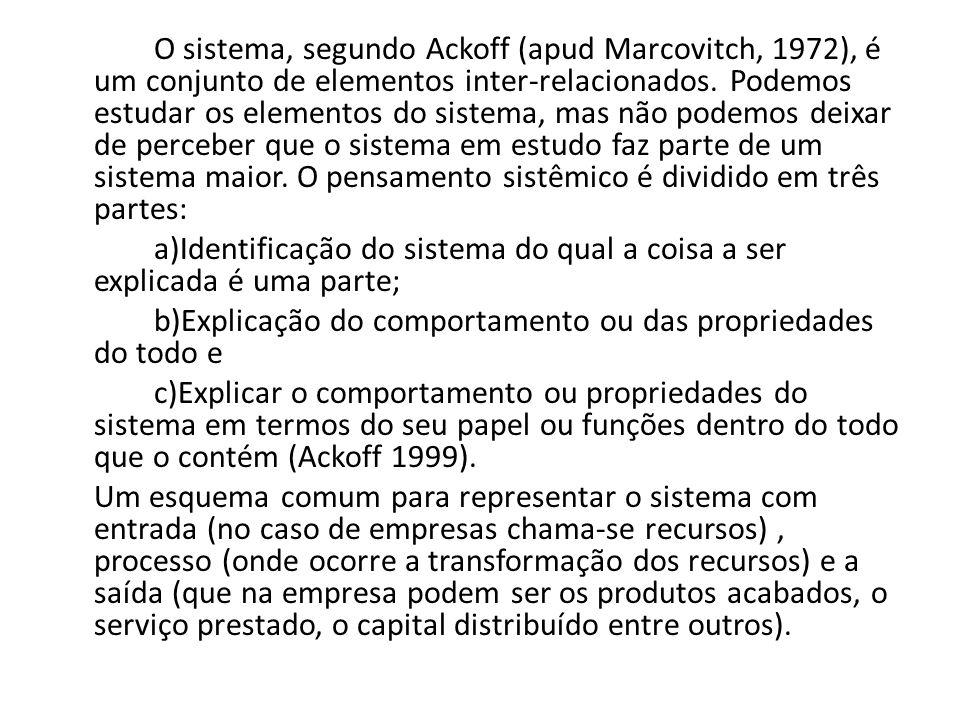 O sistema, segundo Ackoff (apud Marcovitch, 1972), é um conjunto de elementos inter-relacionados.