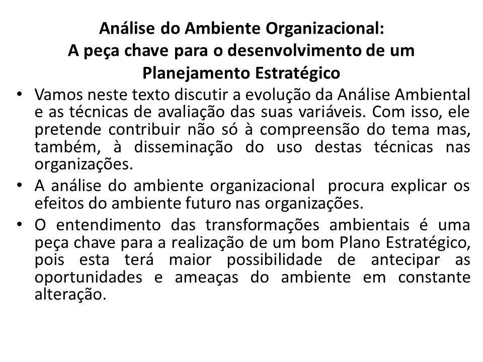 Análise do Ambiente Organizacional: A peça chave para o desenvolvimento de um Planejamento Estratégico Vamos neste texto discutir a evolução da Análise Ambiental e as técnicas de avaliação das suas variáveis.