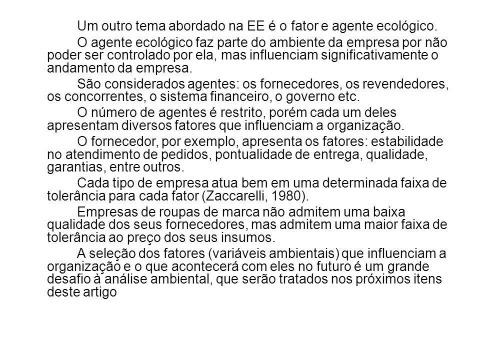 Um outro tema abordado na EE é o fator e agente ecológico.