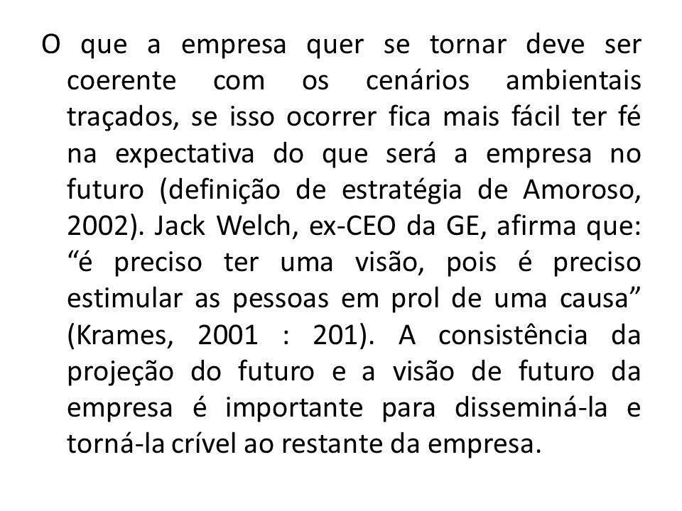 O que a empresa quer se tornar deve ser coerente com os cenários ambientais traçados, se isso ocorrer fica mais fácil ter fé na expectativa do que será a empresa no futuro (definição de estratégia de Amoroso, 2002).