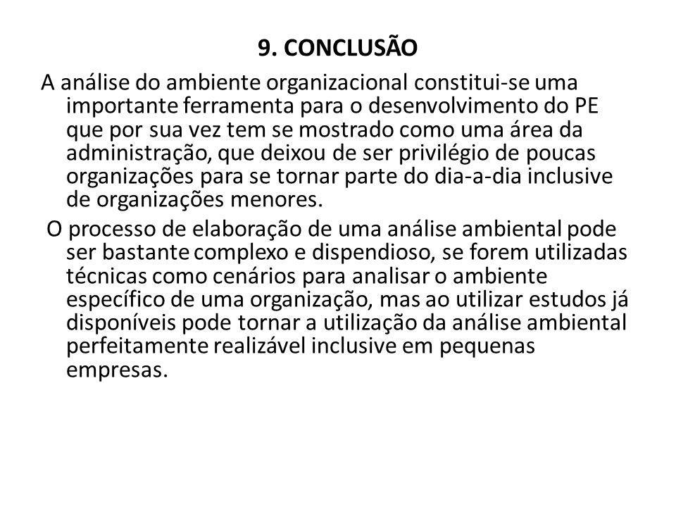 9. CONCLUSÃO A análise do ambiente organizacional constitui-se uma importante ferramenta para o desenvolvimento do PE que por sua vez tem se mostrado