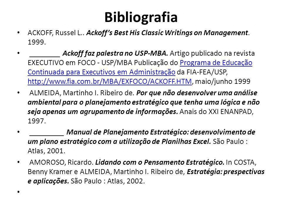 Bibliografia ACKOFF, Russel L.. Ackoffs Best His Classic Writings on Management. 1999. ________ Ackoff faz palestra no USP-MBA. Artigo publicado na re