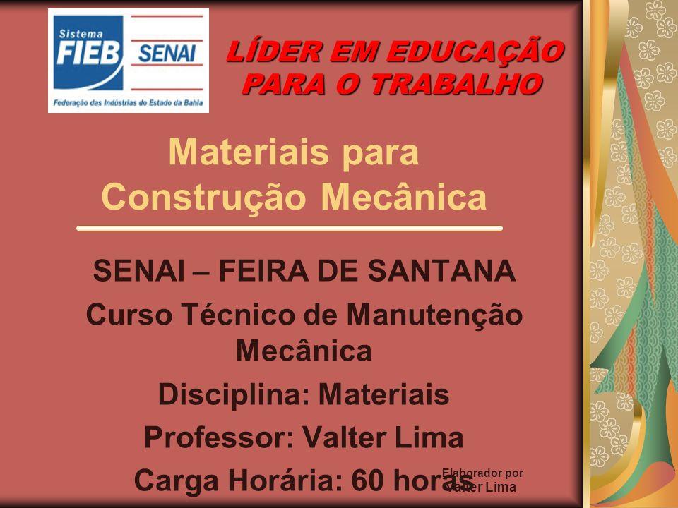 Elaborador por Valter Lima Materiais para Construção Mecânica SENAI – FEIRA DE SANTANA Curso Técnico de Manutenção Mecânica Disciplina: Materiais Prof