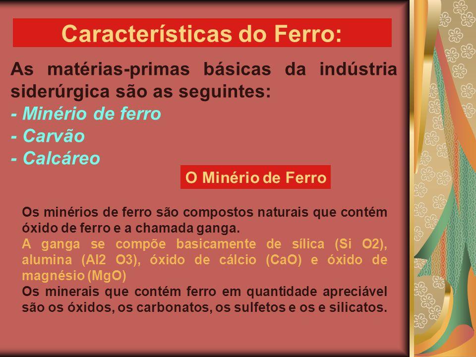 As matérias-primas básicas da indústria siderúrgica são as seguintes: - Minério de ferro - Carvão - Calcáreo Características do Ferro: Os minérios de