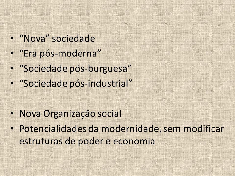 Nova sociedade Era pós-moderna Sociedade pós-burguesa Sociedade pós-industrial Nova Organização social Potencialidades da modernidade, sem modificar e