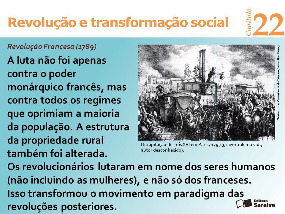 Revolução e transformação social Capítulo 22 Três grupos participaram do movimento: camponeses (maioria), trabalhadores urbanos e burguesia urbana e rural.