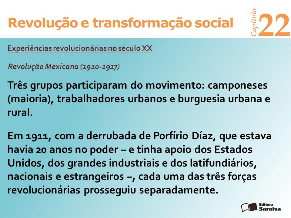 Revolução e transformação social Capítulo 22 Três grupos participaram do movimento: camponeses (maioria), trabalhadores urbanos e burguesia urbana e r