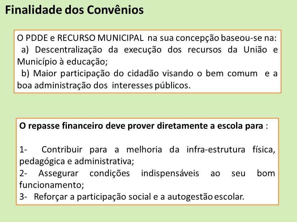 O PDDE e RECURSO MUNICIPAL na sua concepção baseou-se na: a) Descentralização da execução dos recursos da União e Município à educação; b) Maior parti