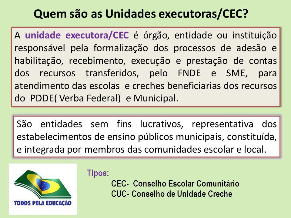 A unidade executora/CEC é órgão, entidade ou instituição responsável pela formalização dos processos de adesão e habilitação, recebimento, execução e