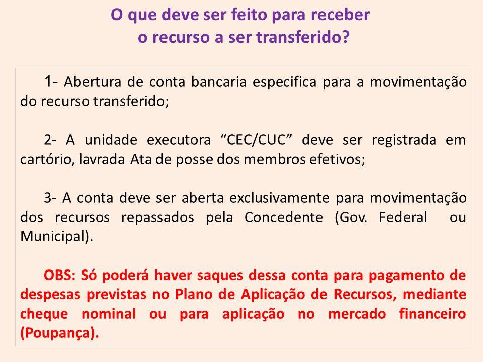 O que deve ser feito para receber o recurso a ser transferido? 1- Abertura de conta bancaria especifica para a movimentação do recurso transferido; 2-