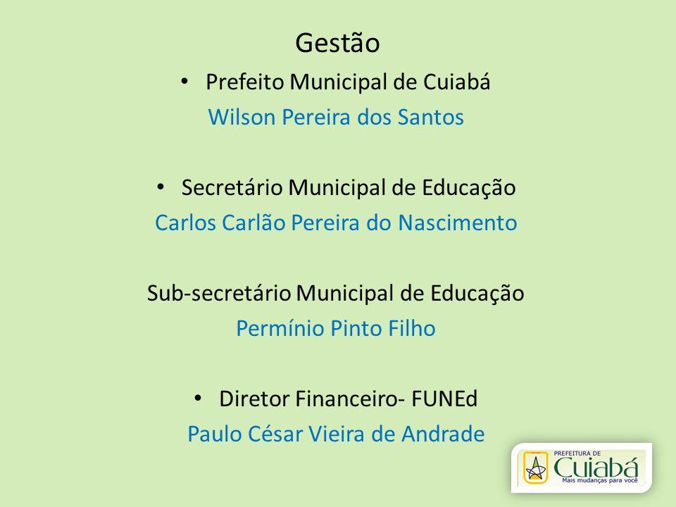 Gestão Prefeito Municipal de Cuiabá Wilson Pereira dos Santos Secretário Municipal de Educação Carlos Carlão Pereira do Nascimento Sub-secretário Muni