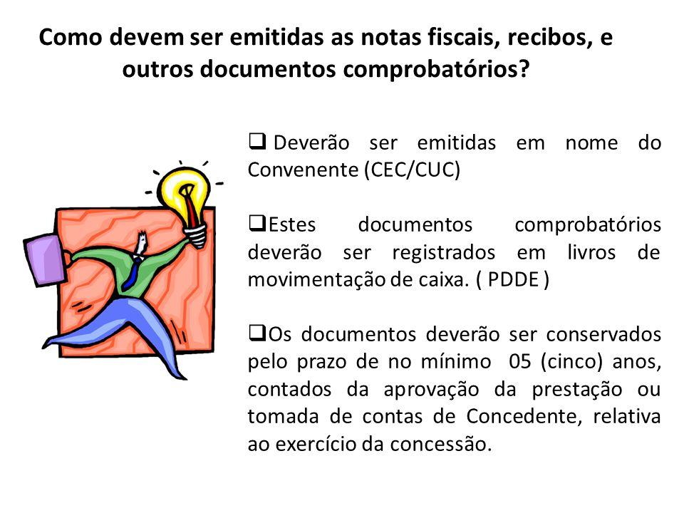 Como devem ser emitidas as notas fiscais, recibos, e outros documentos comprobatórios? Deverão ser emitidas em nome do Convenente (CEC/CUC) Estes docu