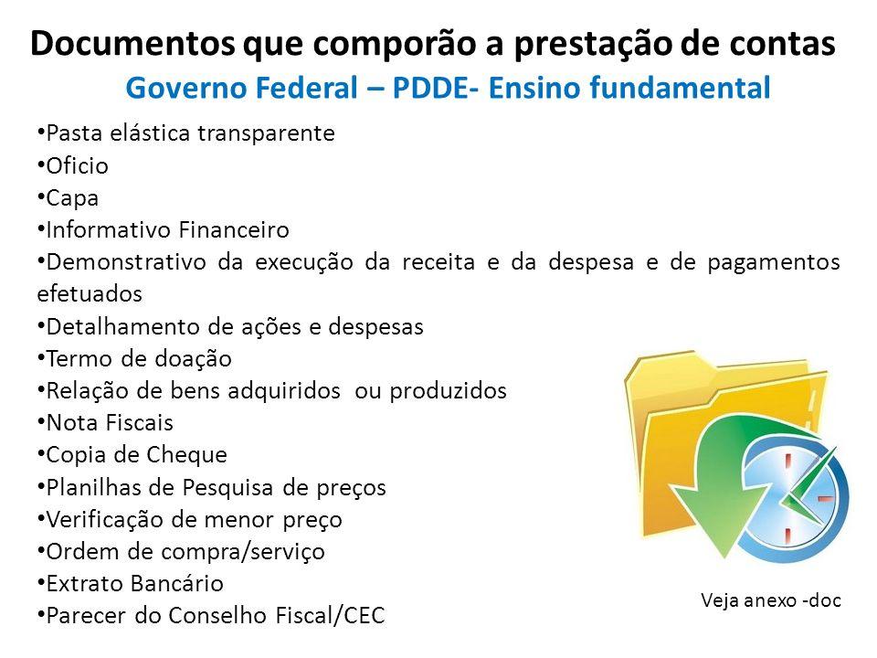 Documentos que comporão a prestação de contas Veja anexo -doc Pasta elástica transparente Oficio Capa Informativo Financeiro Demonstrativo da execução