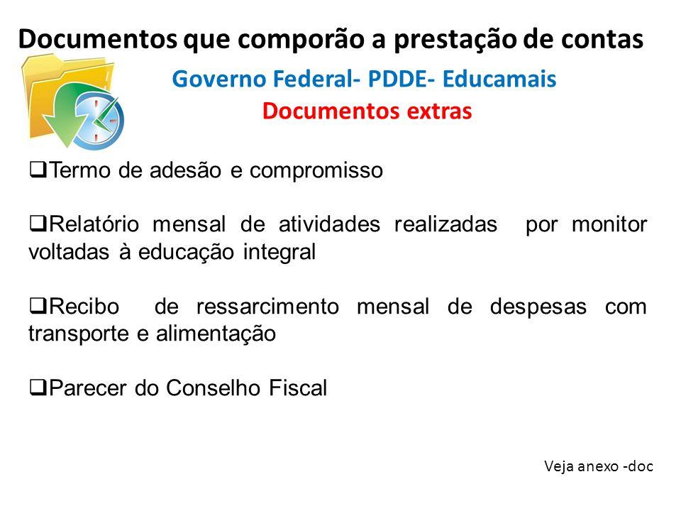 Documentos que comporão a prestação de contas Veja anexo -doc Termo de adesão e compromisso Relatório mensal de atividades realizadas por monitor volt