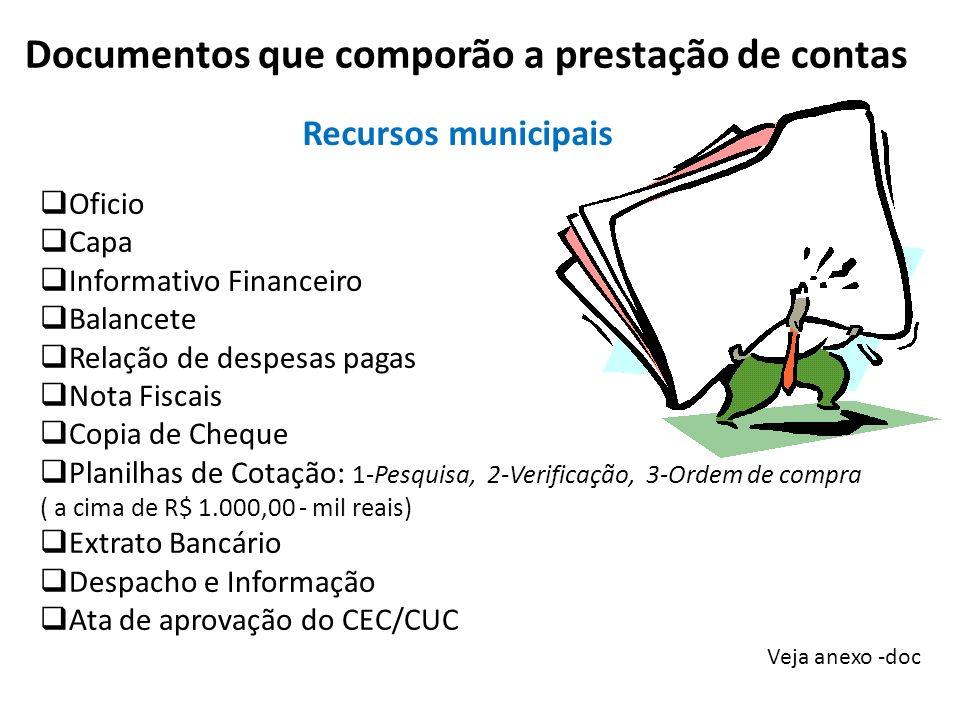 Documentos que comporão a prestação de contas Veja anexo -doc Oficio Capa Informativo Financeiro Balancete Relação de despesas pagas Nota Fiscais Copi