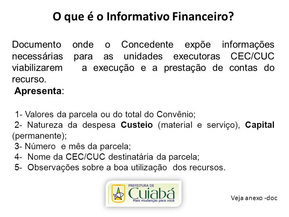O que é o Informativo Financeiro? Veja anexo -doc Documento onde o Concedente expõe informações necessárias para as unidades executoras CEC/CUC viabil