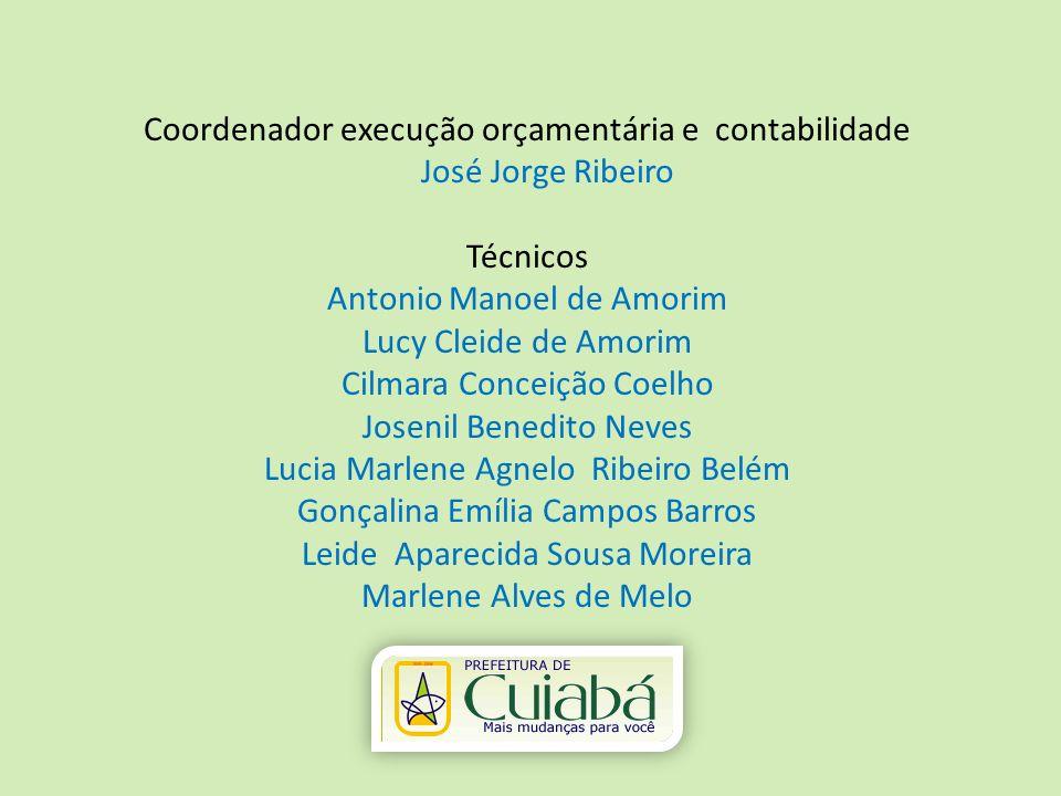 Coordenador execução orçamentária e contabilidade José Jorge Ribeiro Técnicos Antonio Manoel de Amorim Lucy Cleide de Amorim Cilmara Conceição Coelho
