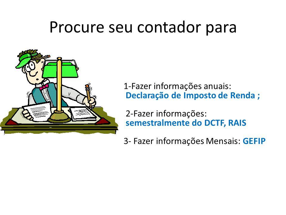 Procure seu contador para 1-Fazer informações anuais: Declaração de Imposto de Renda ; 2-Fazer informações: semestralmente do DCTF, RAIS 3- Fazer info