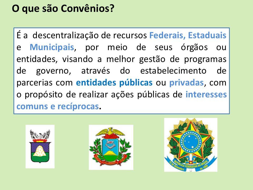 É a descentralização de recursos Federais, Estaduais e Municipais, por meio de seus órgãos ou entidades, visando a melhor gestão de programas de gover