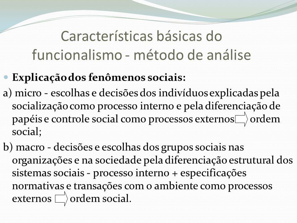 Características básicas do funcionalismo - método de análise Explicação dos fenômenos sociais: a) micro - escolhas e decisões dos indivíduos explicada