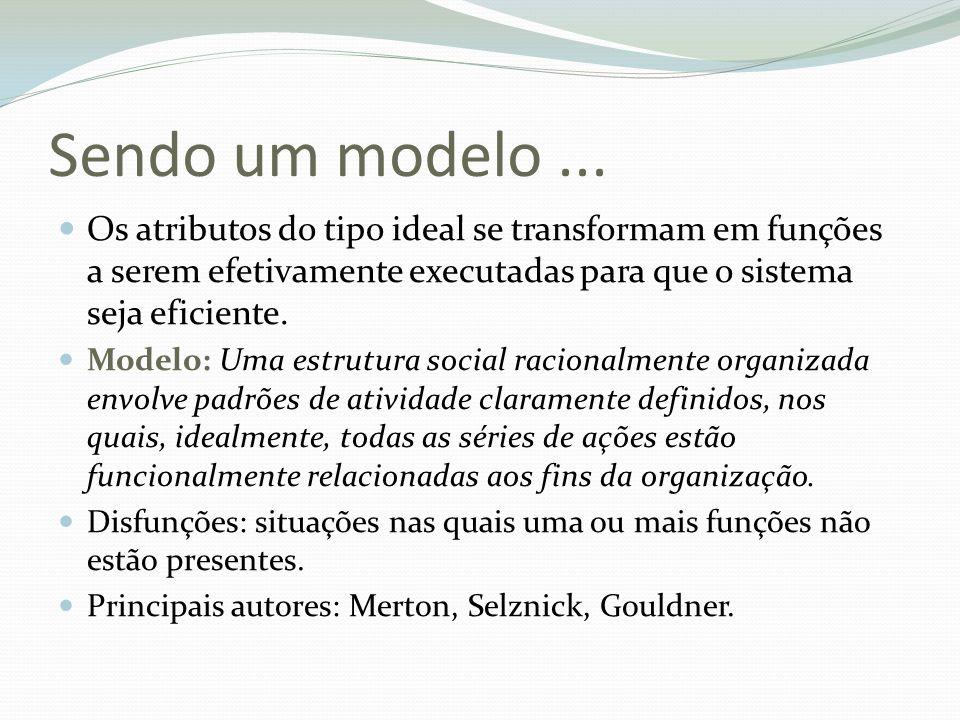 Sendo um modelo... Os atributos do tipo ideal se transformam em funções a serem efetivamente executadas para que o sistema seja eficiente. Modelo: Uma