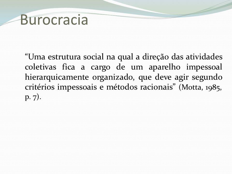 Burocracia Uma estrutura social na qual a direção das atividades coletivas fica a cargo de um aparelho impessoal hierarquicamente organizado, que deve