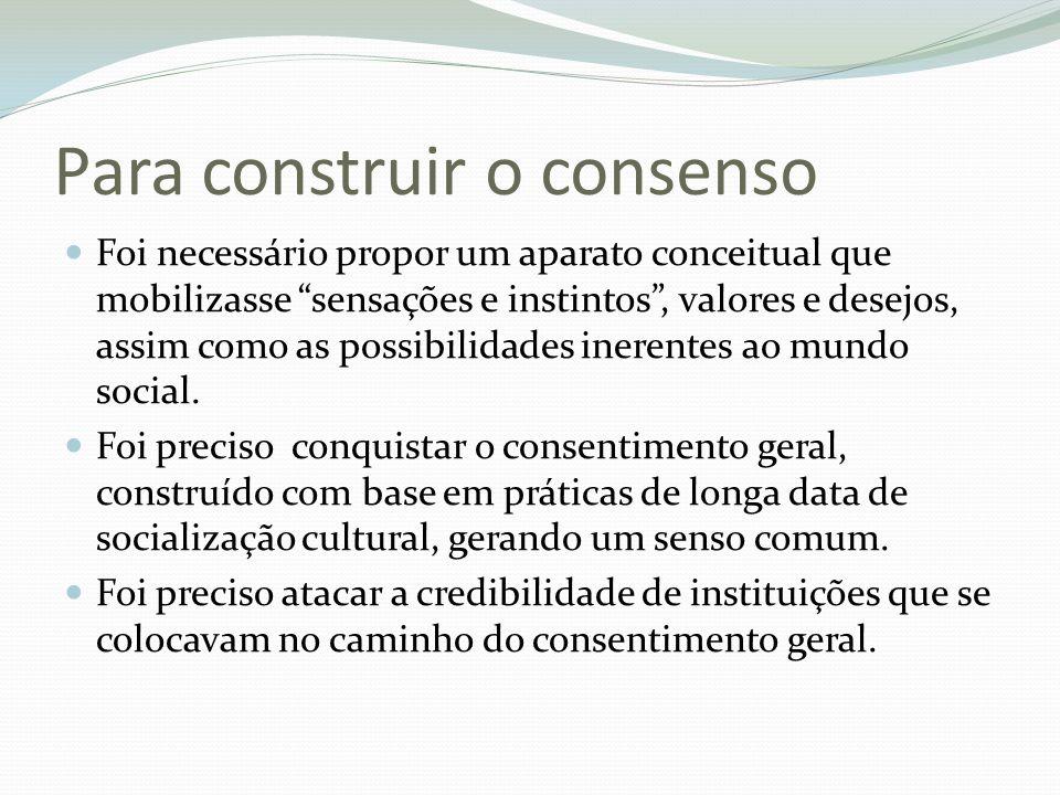 Para construir o consenso Foi necessário propor um aparato conceitual que mobilizasse sensações e instintos, valores e desejos, assim como as possibil